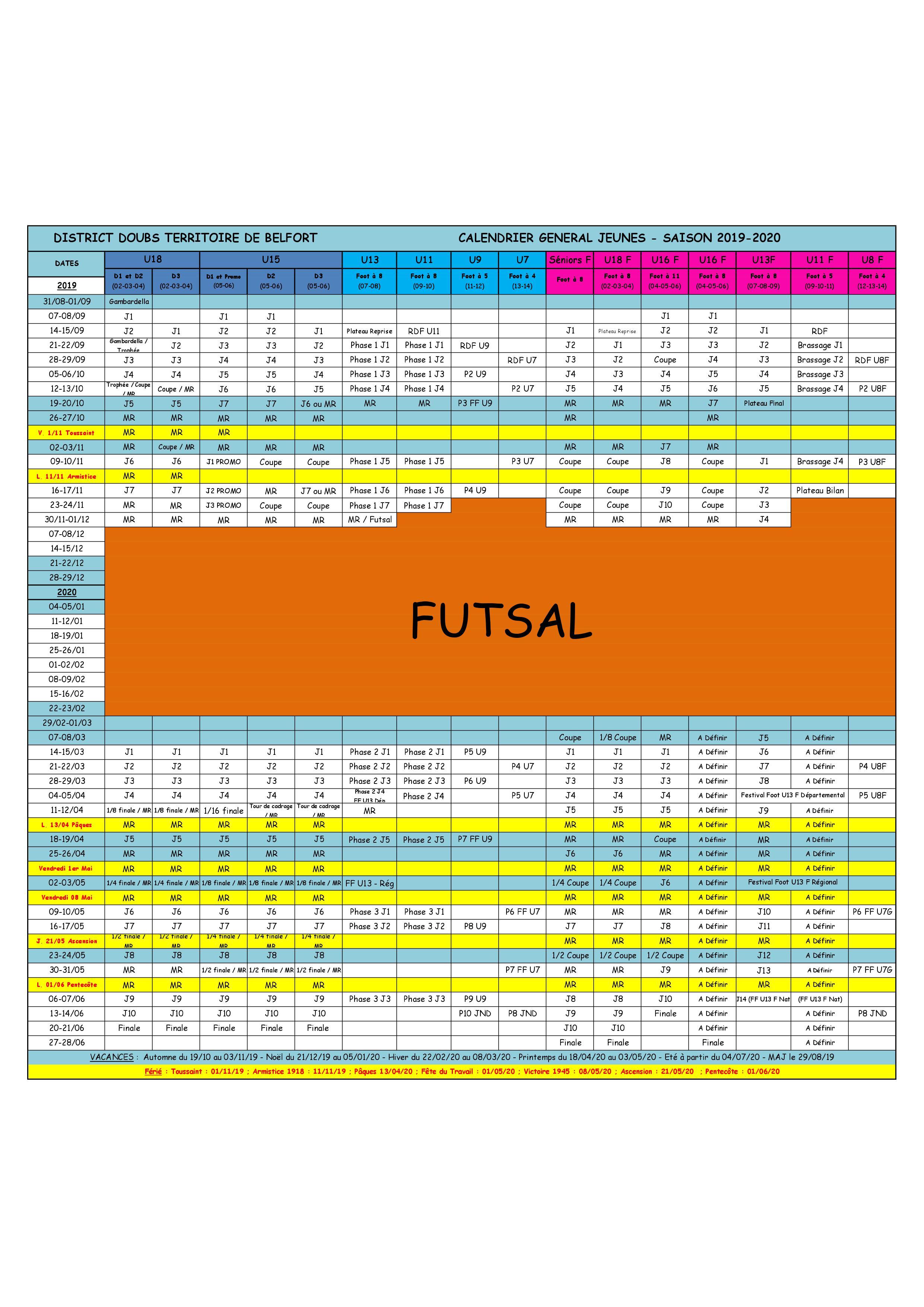 Calendrier Foot 2019 2020.Calendrier General Jeunes Saison 2019 2020 Club Football