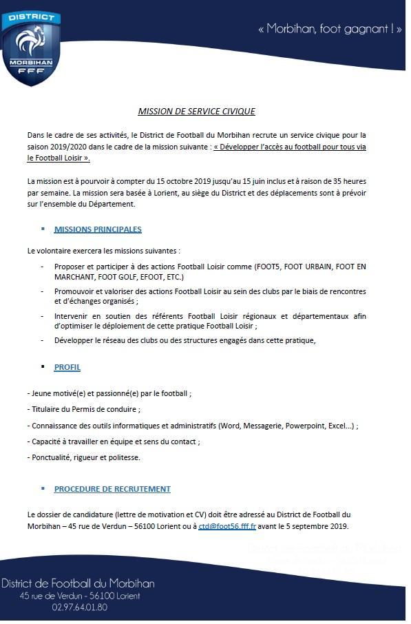 Actualité Le District Recrute Deux Services Civique Club