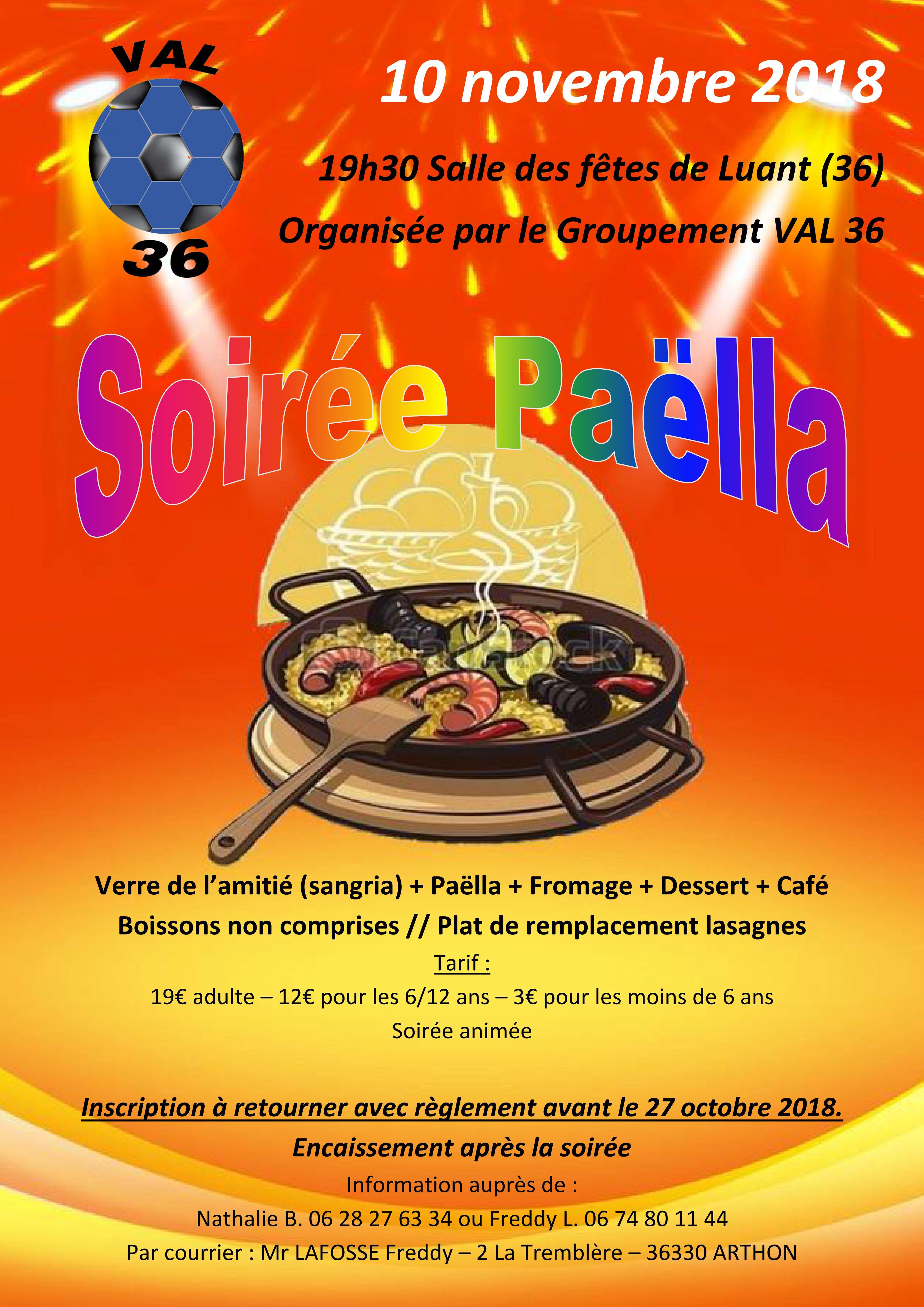 Affiche Soirée Paëlla VAL36