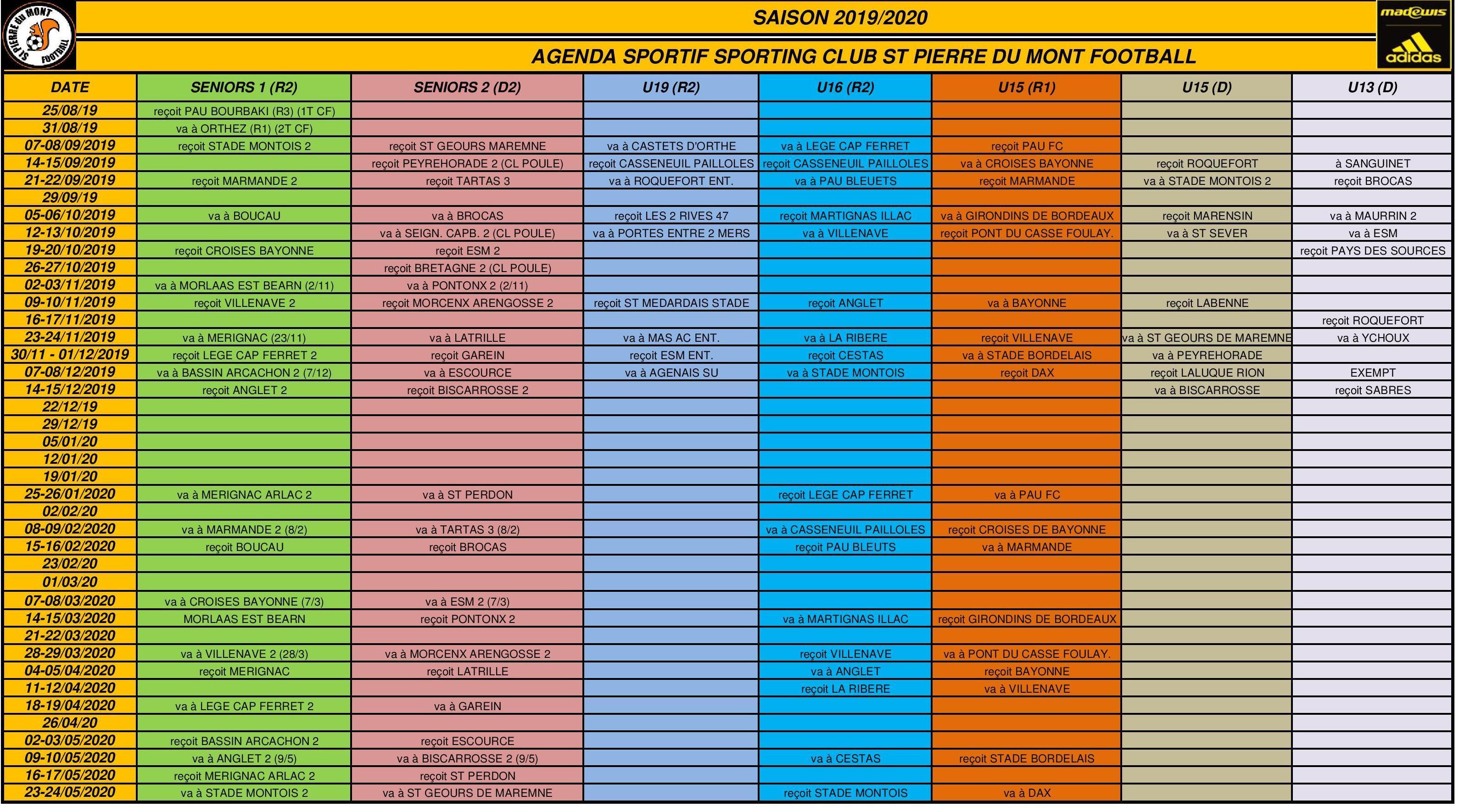 Calendrier Sport 2020.Actualite Calendrier Sportif U13 A Seniors Saison