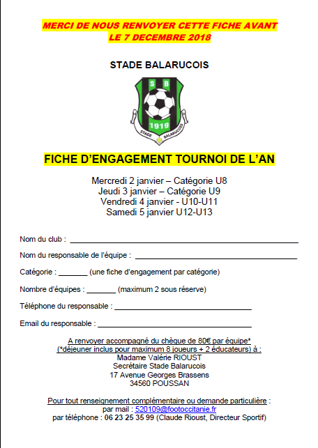 Inscription tournoi de l'an