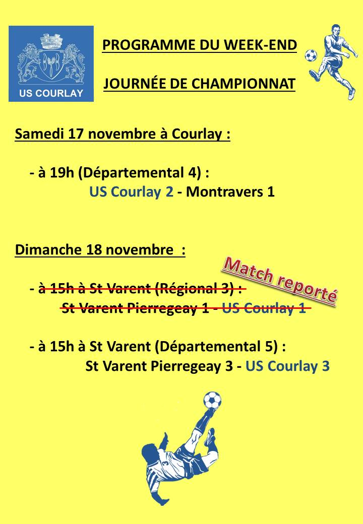 2018_11_15 Matchs_au_programme_du_week_end