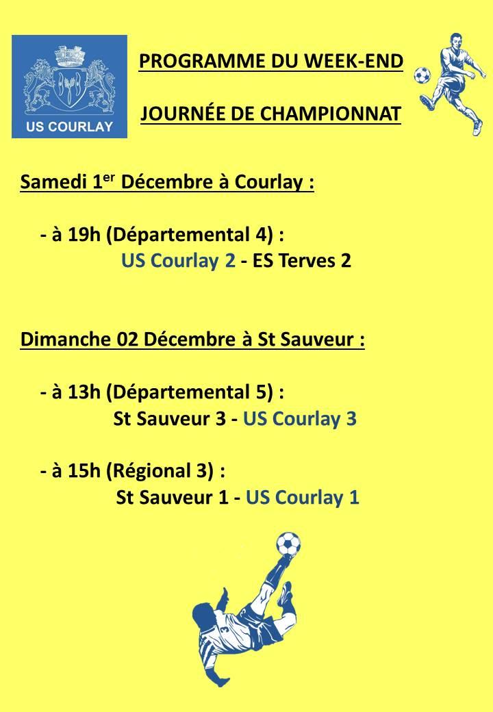2018_11_29 Matchs_au_programme_du_week_end